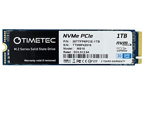 Timetec 1TB SSD NVMe PCIe Gen3x4 8Gb/s M.2 2280 3D NAND TLC 600TBW High Performance SLC Cache Read/Write Speed Up to 1,800/1,500 MB/s Internal Solid State Drive for PC Laptop and Desktop...
