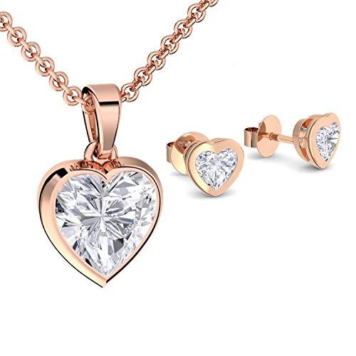 Geschenkset für Frauen Schmuckset Damen Rosegold Silber 925 hochwertig vergoldet Geschenkset Geburtstag Freundin Kette Ohrringe *GRATIS Ich liebe Dich GESCHENKBOX* SE22VGRSZIFA