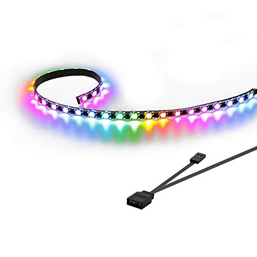 Speclux Addressable LED Strip, RGB LED Strip, Tira LED para Caja de PC Gaming, 50cm(Solo Compatible con encabezado Add de 5 V y 3 Pines)