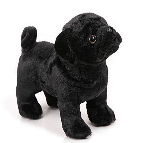 BONI 12.5 Inch Black Pug Stuffed Animal, Pug Plush Dog Stuffed Animals