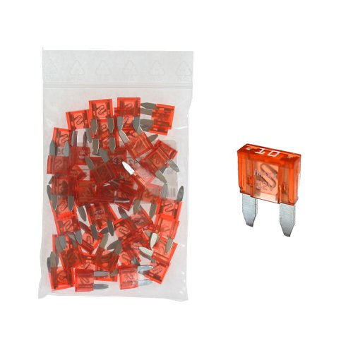 50 Flachstecksicherung Mini-Sicherung 10A / 32V / rot