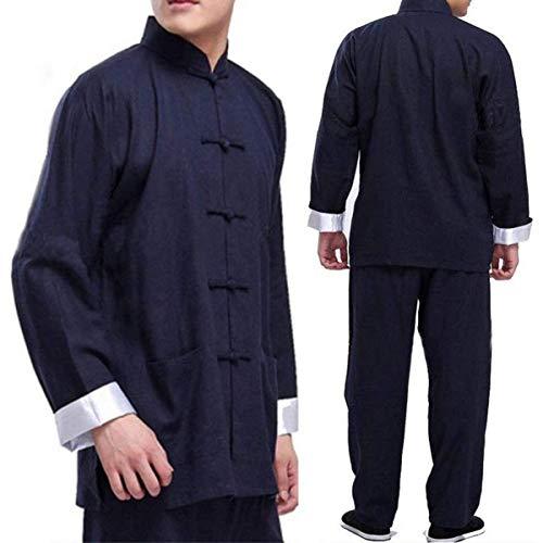 MYDFG Ropa De Tai Chi Bruce Lee Vintage Chino Wing Chun Kung Fu Uniforme Algodn Seda Artes Marciales Trajes De Tai Chi Hombres Traje TangBlue-Medium