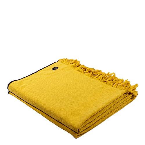 Sunny-Decke – weiche, leichte Decke aus Baumwolle für Sofa, Terrasse und Garten – Plaid mit Fransen - 160x200 cm – 160 curry – von 'zoeppritz since 1828'