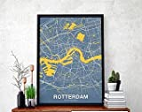 MG global Rotterdam Netherlands Holland Map Poster Color