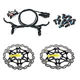 Zoom Frenos de disco hidráulicos Mountain Bike Sets MTB Conjunto delantero y trasero con disco flotante Rotor 160mm y pernos de color (negro)