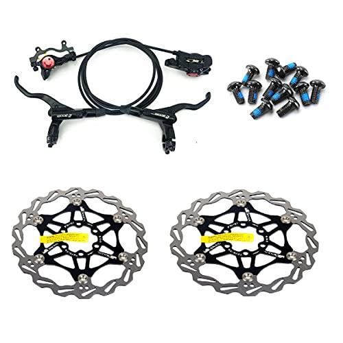 Set di freni a disco idraulici per mountain bike con rotore a disco flottante da 160 mm e bulloni a colori (nero)