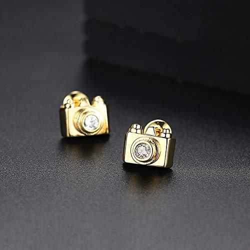 ZHWM Ohrringe Ohrstecker Ohrhänger Exquisite Kamera Förmigen Ohrstecker Für Frauen Hochzeit Cz Mode Doppel Farben Pendientes Weihnachten, B