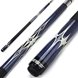 GSE Games & Sports Expert 58' 2-Piece Canadian Maple Billiard Pool Cue Stick(4 Colors, 18-21oz) (Blue - 19oz)