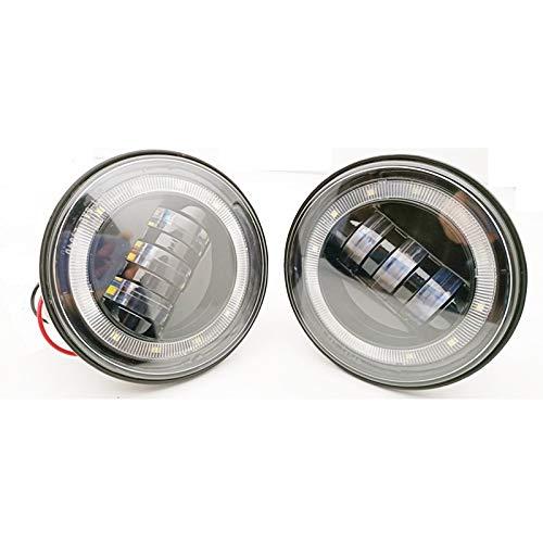 HAIHAOYF Faro de luz antiniebla LED Redonda de 4 Pulgadas, Lente de proyector de 30 vatios con lámpara de halo DRL Fuera de la Carretera