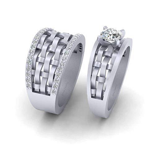 Anillo de compromiso de malla de plata de ley 925 maciza, anillo de compromiso de malla de diamante de 0,95 quilates