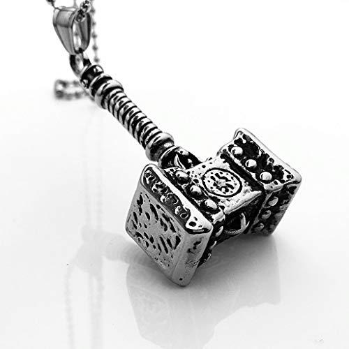 YANGFJcor Menhao 316L Acero Inoxidable Vikingo Nórdico Odin Thor Thor JOR Neil Martillo del Martillo De Thor Collar Colgante Joyería Vikinga Mismo Estilo para Hombres Y Mujeres