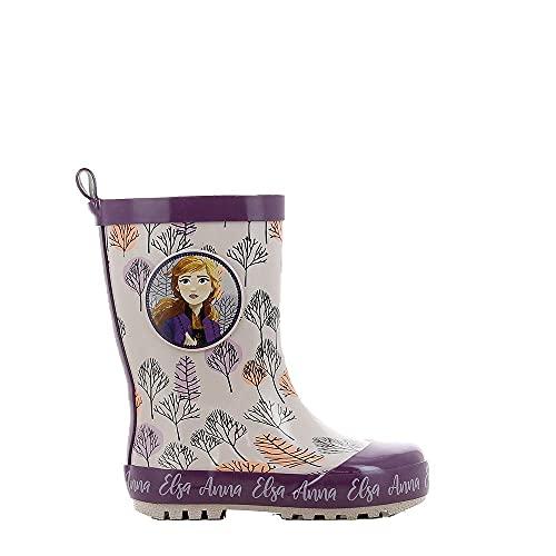 Disney Frozen Regenstiefel Kinder, Gummistiefel für Mädchen mit Anna und ELSA Aufdruck, Regenschuhe, Boots, Schlupfstiefel, Kinderschuhe mit Rutschfester Sohle, lila und rosa, EU 23
