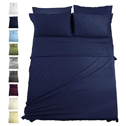 EASELAND 6-Pieces Queen Size Bed Sheets Set 1800 Series Microfiber-Wrinkle & Fade Resistant,14' Deep Pocket,Hypoallergenic Bedding Set,Queen,Navy