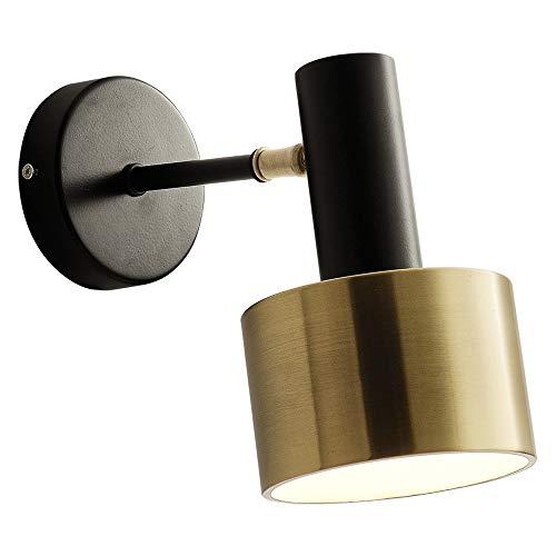 VOMI Lámpara De Pared Industrial Retro Negro Vintage LED Foco Techo Luz De Pared Ajustable Apliques De Pared Metal Foco Noche, Luz De Instalación Empotrada Base Bombilla E27