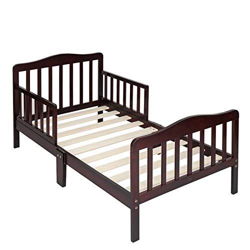 JINDAO-URG Wooden Baby Toddler Bed Children Bedroom Furniture with Safety Guardrails Espresso URG