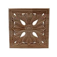 シンプルなビンテージ木材彫刻されたデカールコーナーオンレイアップリケフレーム家具の壁家の内閣のドアの装飾工芸品のための塗装 Timeearth (色 : 24cmX24cm)