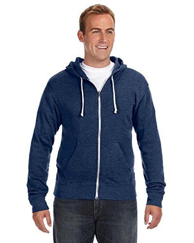 J America Triblend Full-Zip Fleece Hood, Large, NAVY TRIBLEND