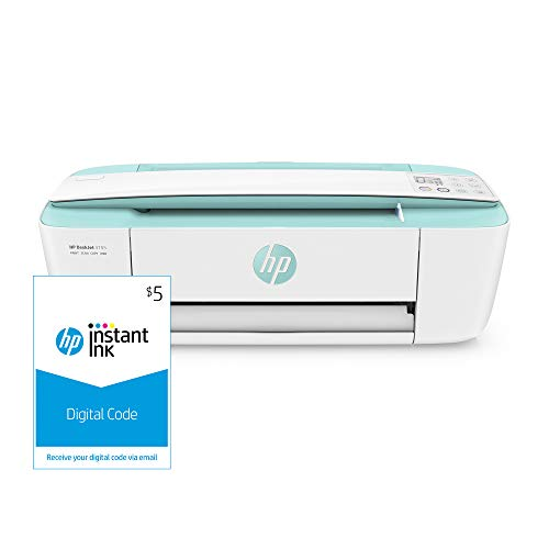 HP DeskJet 3755 Compact All-in-One Wireless Printer, HP Instant Ink & Amazon Dash Replenishment ready - Seagrass Accent (J9V92A) and Instant Ink $5 Prepaid Code
