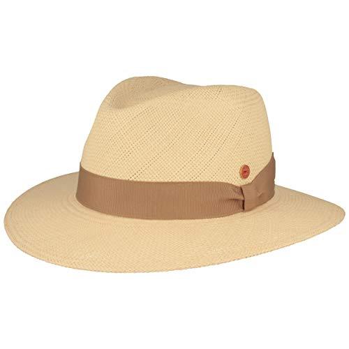 Sombrero de paja Mayser Orginal Panama, sombrero de verano de Ecuador – tradicional tejido a mano, protección UV 40, impermeable, protección contra roturas. Natural/beige. 56