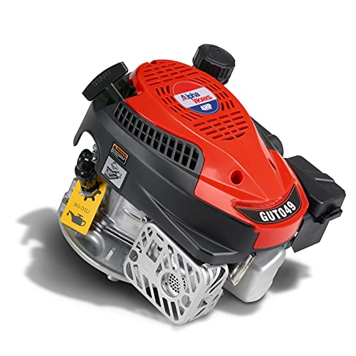 "AlphaWorks Gas Engine 4HP Motor Vertical 4 Stroke OHV Recoil Start 3600RPM 6.5Ft-Lbs/8.8Nm Torque 7/8' Shaft 3/16' Keyway 3/8""-24-2B UNF End Tapped Go Kart Log Splitter EPA/CARB Certified"