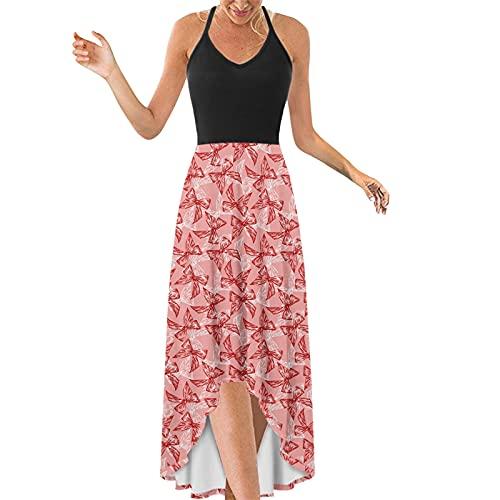 URIBAKY - Vestido de mujer con cuello en V, estampado casual, largo y suelto, vestido largo con tirantes B rosa. XXL
