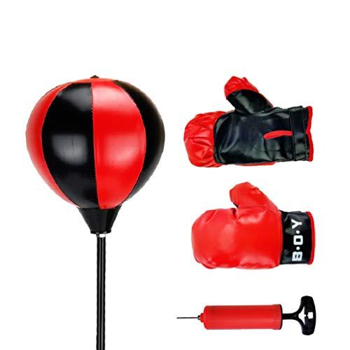 TOYANDONA Sport Boxset Set Boxsack mit Handschuhen Fitness Boxen Ball Sport Lernspielzeug für Kinder Kleinkind Spielen Schwarz Rot