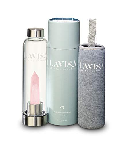LAVISA Crystal Infusion Trinkflasche - Kristallflasche, mit Edelstein zum wechseln, Kristalltherapie, Edelsteinflasche (Rosenquarz)