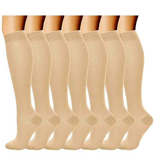 Kompressionssocken/Compression Socks/Strümpfe Kompression/Laufsocken/Thrombosestrümpfe/für Damen Herren, Sport, medi, Flug, Reisen, Schwangerschaft & Medizinische. (L/XL, Hautton)