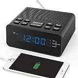 HelloToday Digital-Radiowecker mit Sleep-Timer FM-Radio, 2A USB-Ladeanschluss, 0,6' Dimmer-LED-Display, Snooze für Schlafzimmer