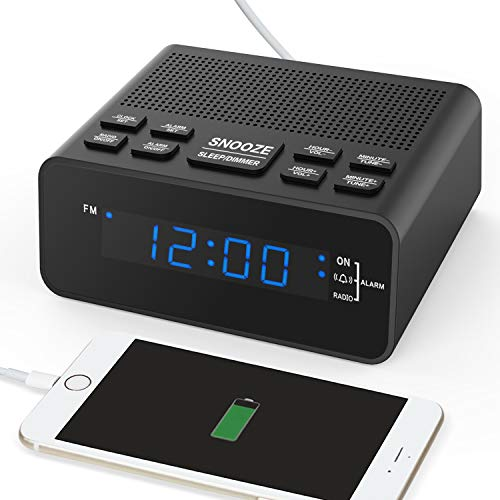 """Digital-Radiowecker mit Sleep-Timer FM-Radio, 2A USB-Ladeanschluss, 0,6\""""Dimmer-LED-Display, Snooze für Schlafzimmer"""