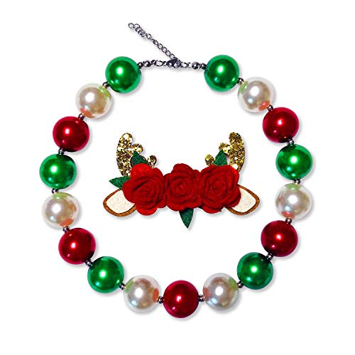 Chunky Bubblegum Necklace Merry Christmas Fashion Beads Necklace for Baby Girl with Gift Box (White)