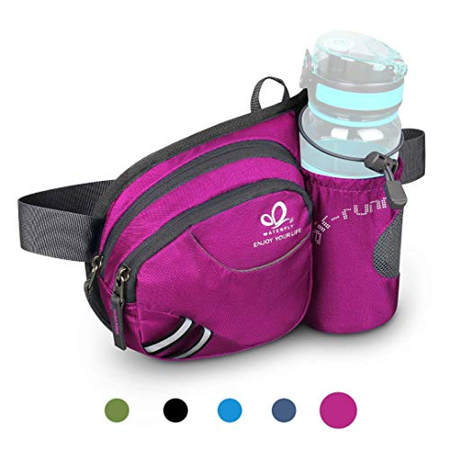 Waterfly Waist Fanny Pack, Waist Pack with Bottle Holder Water Repellent Bum Bag Dog Walking Waist Bag (Pink)