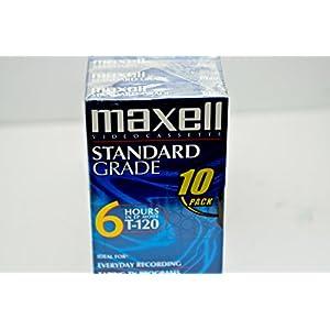 Maxell 10pk VHS Cassette Standard Grade T-120, 6 Hour - 10 Pack
