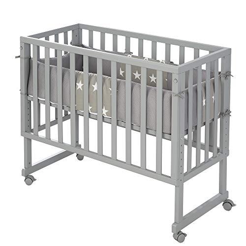 roba-kids 8961TP-9M190 - Safe asleep 3in1, gris, para todas las alturas de cama de los padres, incluye colchón ventilado, nido ventilado y barrera, unisex
