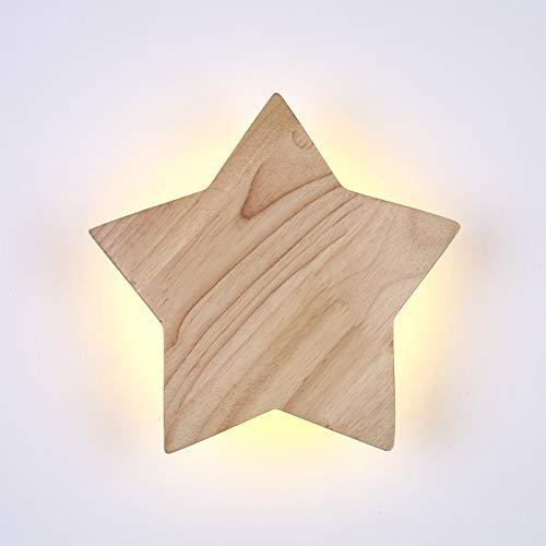 VOMI De madera Moderno LED Lámpara de Pared Creatividad Forma de Estrella Iluminación de Pared Para Dormitorio Niños, 12W Luz Calida 3000K Luz Decorativa, Para Sala De Estar Dormitorio(22CM)