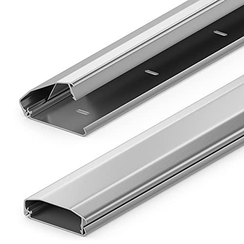 deleyCON Canalina Portacavi e Fili Universale con Innovativo Sistema di Chiusura Alluminio di Alta Qualità Lunghezza 50cm Larghezza 6cm Altezza 2cm - Argento