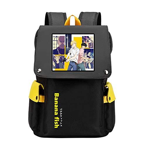 Banana Fish Cartoon Schultaschen Mädchen Große Schultaschen Ash Lynx Reiserucksack USB Aufladen Laptop Bagpack Boys Rugzak