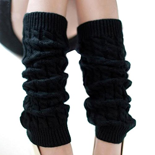HugeStore Damen Frauen Winter Crochet Stricken Stulpen Beinstulpen Beinwärmer Kniestrümpfe Legwarmers Schwarz