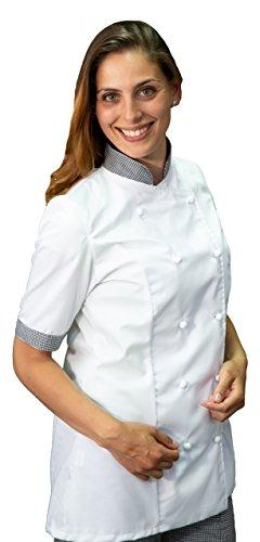 tessile astorino Ricamo Gratuito - Giacca Cuoco da Cucina - Casacca Chef Donna Manica Corta - Bianca e Pied de Poule - Made in Italy (M)
