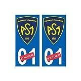 ASM Clermont Auvergne nouveau logo numéro au choix autocollant plaque immatriculation auto ville sticker - Angles : droits