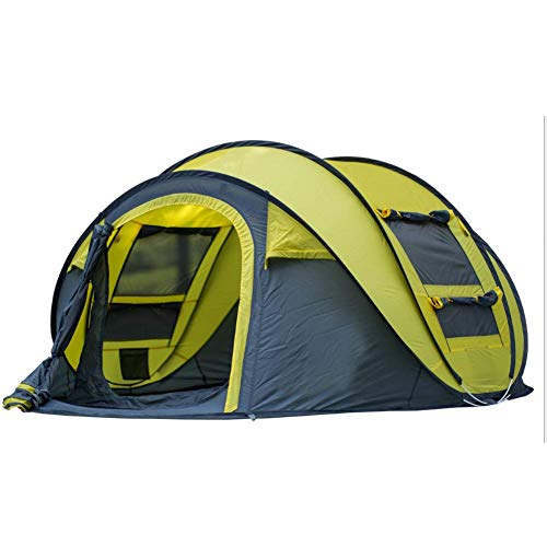 Automatic Camping Pop-Up Tent 3-4 Person Instant Setup Hydraulic Tents Double Layer Waterproof Dome Tent Large Family Tent for Beach Picnic Outdoor,Yellow