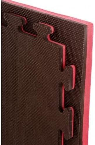 Suelo tatami de 2.5 cm. (rojo/negro) borde liso de 1 x 1 mt. (2 metros)