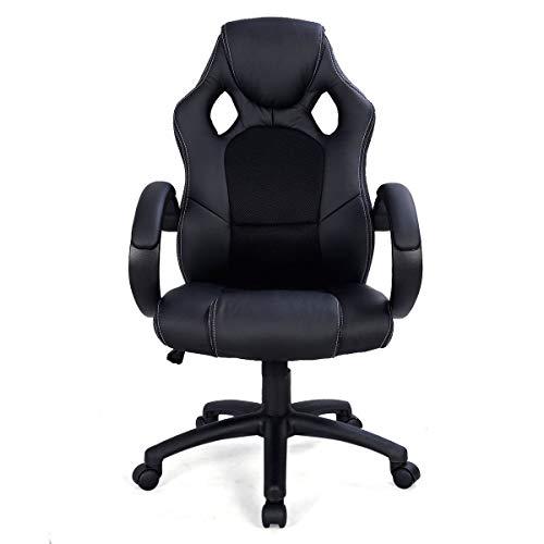 YANGSANJIN Racing Gaming bureaustoel van PU-leer, zwart