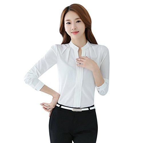 EFINNY Women Office T-Shirt Uniform OL V Neck Henley Blouse Workwear Tops (Large, White 3)