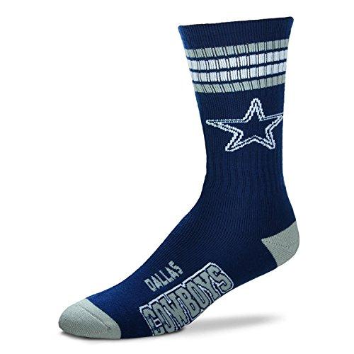 For Bare Feet Dallas Cowboys 4-Streifen Deuce Navy Socken, Dallas Cowboys, Medium