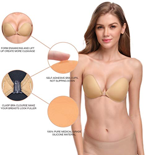 Wingslove Reusable Self Adhesive Silicone Invisible Push-up Stick on Bra Nude,B Cup-Normal Thickness