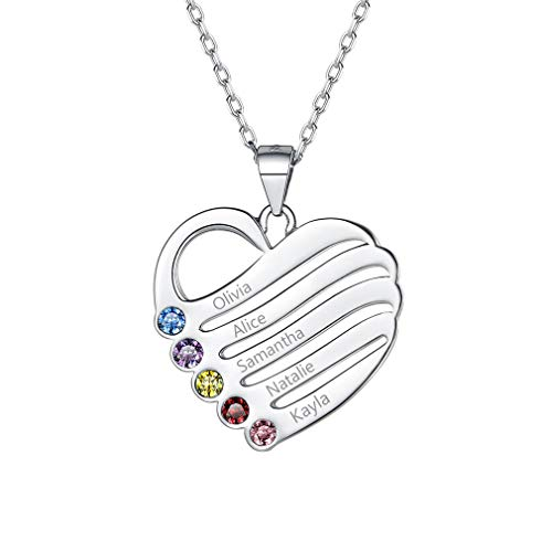 Custom4U Necklace Silver Necklace for Women Personalised Birthstone Necklace with Kids Names and Birthstone