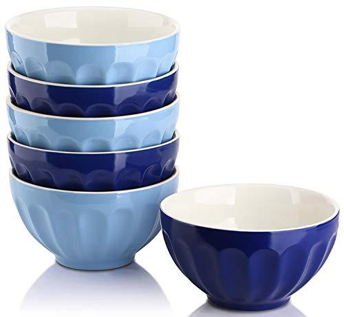 DOWAN 28 Ounce Large Cereal Bowls Set, Porcelain Bowls for Soup, Salad, Rice, Pasta, Microwave & Dishwasher Safe - Set of 6, Assorted Color