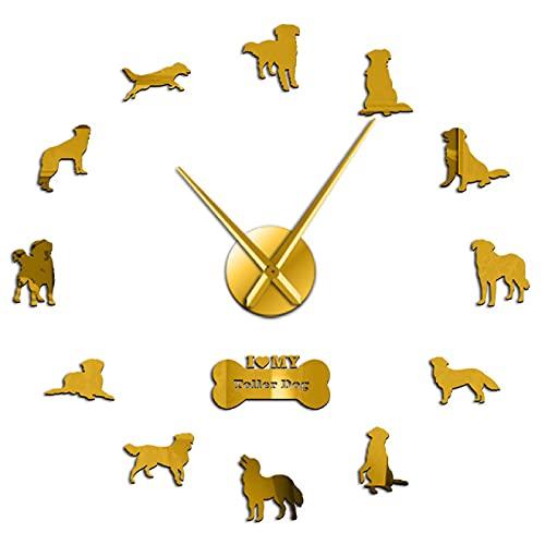 Reloj de Pared Nova Scotia Duck Tolling Retriever Dog Big Wall Clock Toller Dog Sala de Estar Arte de la Pared Decoración del hogar Reloj Tienda de Mascotas Regalo para Amantes de Las Mascotas