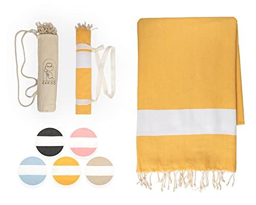 DARIDO Diamond Fouta Hammam - Toalla de playa (100 x 200 cm, 100 % algodón, ligera, suave, absorbente, absorbente, manta para picnic), color amarillo dorado
